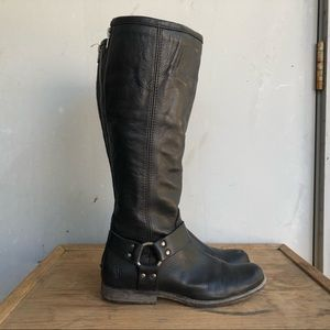 Frye Phillip Harness Boots in Black